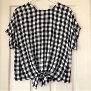 Madewell | Button Back Tie Front Buffalo Check Top